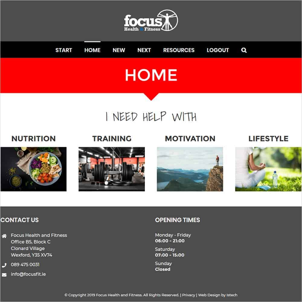 Focus Health & Fitness - New Website Launched